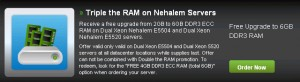 Triple the RAM on Nehalem Dedicated Servers